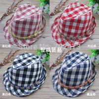 HT-1201 Free shipping  color plaid cotton fedora hats for kids children's bowler hats fashion cowboy caps