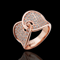2014 fashion ring for women Christmas Gift Engagement Rings With18K Rose Gold Plated Czech Crystals Charm Jewelry 3pcs/lot