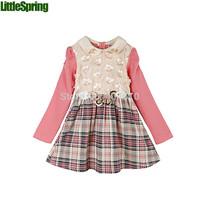 children's full dress spring&autumn  girls long-sleeved flower dress patchwprk plaid dress with butterfly waistband  ELZ-Q0196