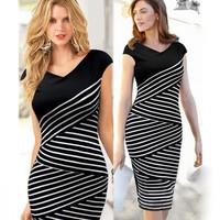 2014 women casual black and white striped dress Slim OL pencil dresses summer v neck vintage dresses for women plus size
