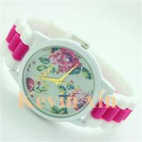 New 2014 Fashion GENEVA Vintage Rose Flower Watch Women Leather Quartz Dress Watches Casual Ladies Rhinestone Wristwatches