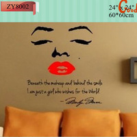 Popular PVC wall stickers Marilyn Monroe kiss Wall art home decoration wall sticker adesivo de parede stickers Free shipping