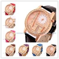 New Fashion 2014 Riffel Tower quartz PU leather band  rhinestone women dress watches