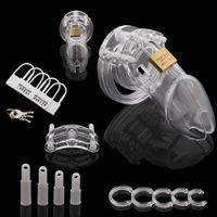 New Clear Male Chastity Device Belt With Brass Lock & Locking Number Tags
