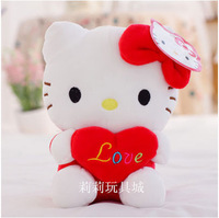 18cm red heart kitty hello kitty valentine gift  girl's gift birthday gift good quality plush toy one piece free shipping