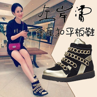 2014 New fashion height increasing genuine leather high-top casual shoes increased metal chain color stitching women sneaker