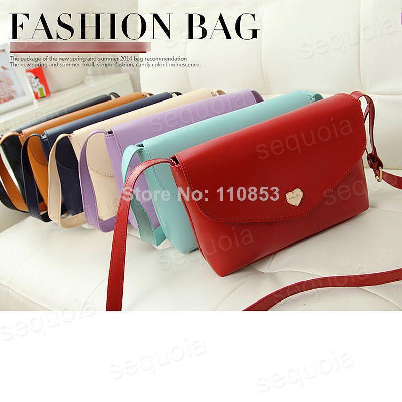 Bottom Price Buy Korean Fashion Solid Summer Candy Cover PU Bag Side Open Pocket Women Beach Shoulder Bag Messenger Bag B5245(China (Mainland))