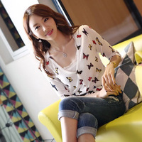 OVO!2014 new cute korean style thin knitting sweater  butterfly print V-neck long sleeve Cardigan sweaters F.SZ.W.226