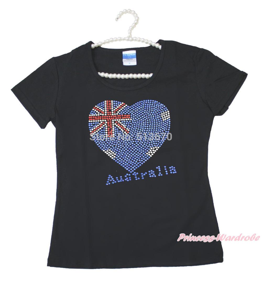 Strass coeur de drapeau de l'australie adultes t-shirt 2-8Y MAT569(Hong Kong)