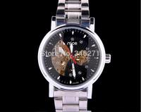 free shipping 2014 New Men's luxury business manual mechanical men cut back through the mechanical watch