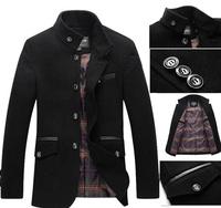 Large Size M-3XL New 2014 Winter Men's Wool Coat Mandarin Collar Single Breasted Woolen Coat SQL8866B , Free Shipping