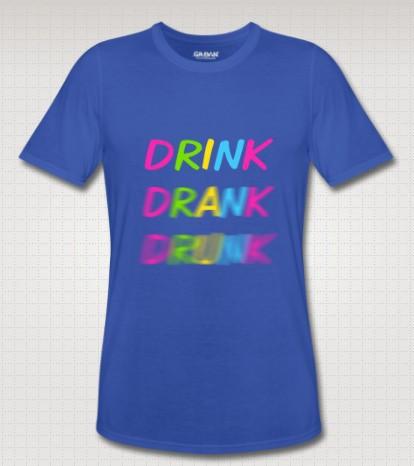 Drink_Drank_Drunk Men's T Shirt Brand Customer Made Causal Fitness Men's Clothing Short Sleeve Free Shipping(China (Mainland))