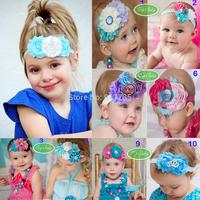 12 pcs Frozen Blue White Silk Satin Lace Headband Netting Princess Headband Great Gatsby Photo Prop-flower Girl-bridal