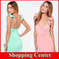 Freeshipping 2014 New Fashion Women Summer Dress sexy Butterfly shoulder strap slim one-piece Girl dress lady dress party dress