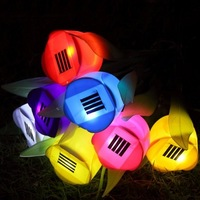 4PCS Outdoor Garden Light Solar Powered LED Tulip Home Landscape Flower Color Lamps