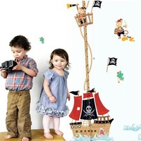 1set/lot New 2014 Kids Room Wall Stickers Corsair Cartoon Wallpaper Child Bedroom Home Decoration Free Shpping
