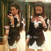 OUMEIYA Real Pictures ORC96 Sexy Short Fitted V Neck Bling Bling Black and White Cocktail Dress with Long Sleeve