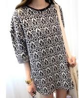 New 2014 Women Autumn Summer Dress Korean Fashion Woolen Long  Sleeve O-neck Print Loose Casual Slim Dress Free Shipping 9878