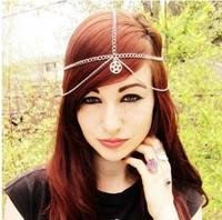 Five Strands Star Pendent Silver Hair Bands Hair Accessory Head Chain Vintage Hair Chain