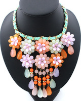 2014 New Desgin for women fashion necklace handmade colorful summer flowers exaggeration statement necklace Pendants xs9178