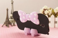 Minnie Mouse Silicon Bow Case Cover For Samsung S3/4/5 I9300 I9500 I9600 /Note 2 N7100/Note 3 N9000 + 1 Pair Shoes Stand
