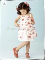 2014 children's summer models simple and elegant European and American big super cute girls dress Kids Children's Sets