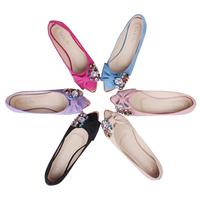 Spring and autumn beaded rhinestone bow elegant new fashion PU leather women's flat shoes large size KZ334