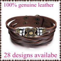 2014 new fashion leather bracelets bangles for men flower top genuine cow leather 28 designs vintage punk wholesale & retail