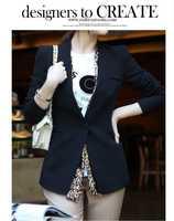 Hot Sale! New Winter Autumn 2014 Women Coat good quality  costumes clothes slim one button Business Suit  jacket