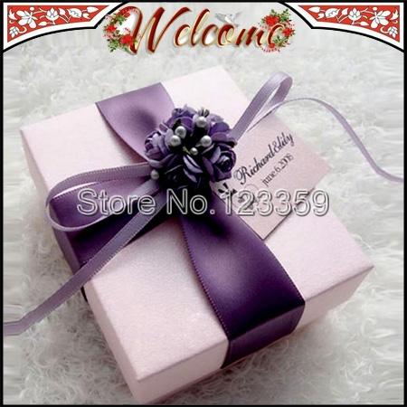 European Style New Wedding box Candy Box Purple Flower Wedding Favors Holder Wedding decoration Gift box 7*8.5*4cm(China (Mainland))