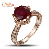 18K Rose Gold 3.08ct Round Red Ruby Natural 0.80ct SI1 Diamond Engagement Ring Free Shipping Fine Jewelry