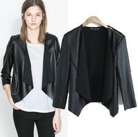 new 2014 fasion Shoulder zipper PU Fight skin women jacket Cardigan Short coat slim Outerwear lady Blazer overcoat