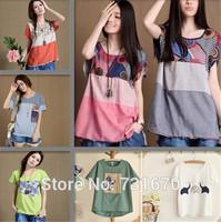 Hot sale 2014 Summer Korean Women Flax Printed Forest girl Literary National Wind Large yard Loose Sleeve Women's T-shirt TX015