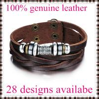 2014 new fashion leather bracelet bangles for men top genuine cow leather 28 designs vintage punk wholesale & retail