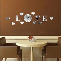 3D Mirror Wall Clocks DIY LOVE Acrylic Wall Stickers Clock 3D Plastic Mirror Watches Home Decor.