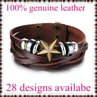 2014 new fashion leather bracelet bangles for men star shape top genuine cow leather 28 designs vintage punk wholesale & retail