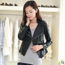 2014 new Korean fashion slim causal turn down collar short locomotive PU leather jacket coat plus size female overcoat hot M0573(China (Mainland))