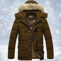2014 New Men's Long Casual Thicken Warm Down Coat,Winter Snow Down Jacket,90% White Duck Down Overcoat,Brown,Size M-3XL,A044