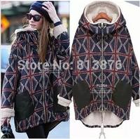 European and American women's 2014 new winter warm personality plus velvet jacket female models big yards long