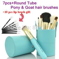 7pcs Makeup brush set Goat hair Blue wood hand Brand Professional Cosmetic tools liquid Fundation Eyeshadow Make up Brush