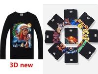 2014 men's long-sleeved 3D printing personalized novelty skull cartoon characters printed Top Tees style casual fashion t-shirts