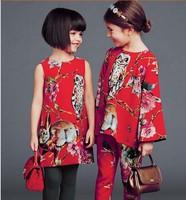 High End 2014 autumn girl print dress brand children princess floral dress,designer kids dobby dress girls' floral dresses,3-12Y