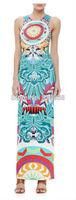 New 2014 women girls summer fashion geometric eye print tank long beach dress floor length sleeveless casual jersey silk dresses