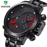 2014 3ATM calendar Watch men luxury brand WEIDE sports watches quartz analog dual time display male clock one year guarantee