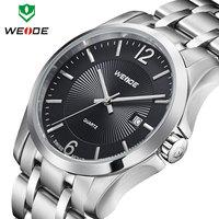 men analog watch 3ATM calendar wristwatch causal WEIDE watch quartz movement full steel watch 1 year guarantee Dropship fashion