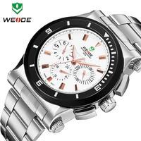 Alarm quartz watches 2014 WEIDE brand luxury fashion stainless steel watch week men waterproof LED clock new arrival dropship
