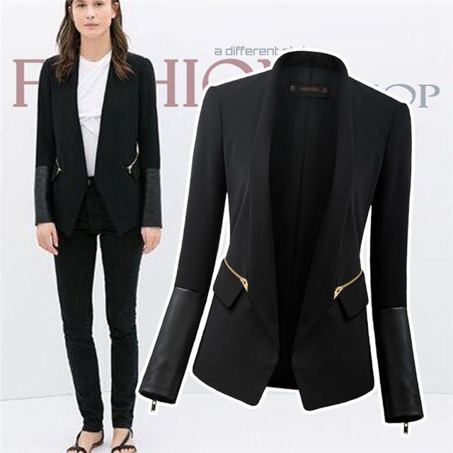 New 2014 Spring Autumn Women's Pu Leather Patchwork Slim Zipper Black Casual Blazers OL Long Sleeve Tunic Suit blaiser feminino(China (Mainland))