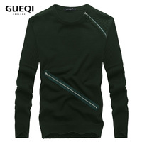 Free shipping,2014 QUEQI  Korean new style with long sleeve zipper design casual with good quality men's sweater  low price