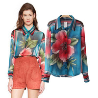 Free Shipping 2014 autumn women blouse lapel camisas femininas positioning casual flower print blusas Europe style
