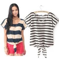Summer fashion European style New 2014 short sleeved striped tie casual blouse loose shirt loose women blusas femininas S/M/L